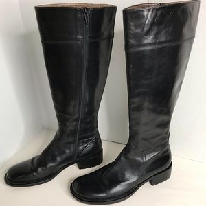 Kenneth Cole Black Leather Tall Riding Boots Sz 38